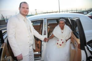Joe & Evelyn sealing their pure Christian love arriving for their wedding